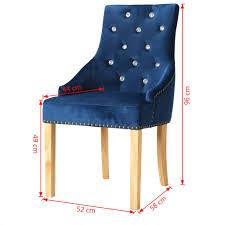 Esszimmerstühle 4 Stk Massive Eiche Und Samt Blau