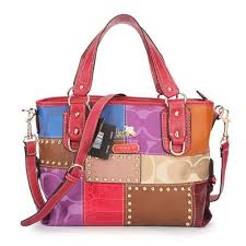 Coach Holiday Matching Stud Medium Red Multi Totes EBS
