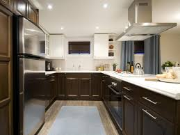 Modern Kitchen Tile Flooring Two Tone Grey Kitchen Cabinets Dark Color Countertop Dark Grey