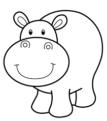 Cute Baby Hippo Animal Coloring Page For Kids Pages With Yintanme