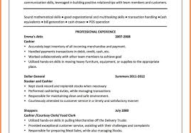 Resume For Cashier And Customer Service Cashier Customer Service