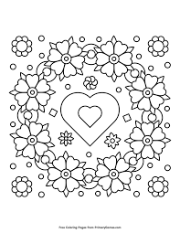 Spring Coloring Pages Ebook Spring Flower Wreath With Heart