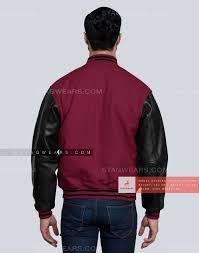 light maroon mens varsity jacket back