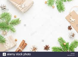 Christmas Frame Of Natural Fir Branches Gifts And New Year