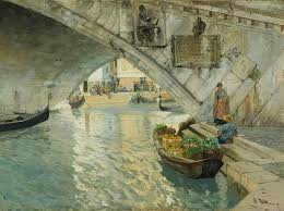 under the rialto bridge of venice painting by frits thaulow