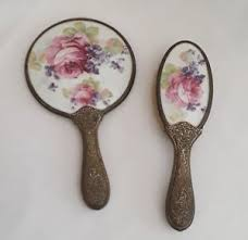 Victorian hand mirror Retro Hand Image Is Loading Antiquevictorianporcelainfloralhandmirrorampbrush Ebay Antique Victorian Porcelain Floral Hand Mirror Brush Set Roses