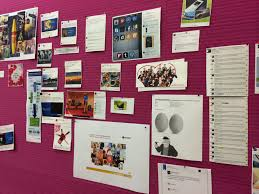 office pinboard. the editorial pinboard at ambuzzador office shows all visitors our u0027best of news feed b