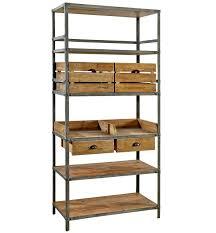 ... Greeley Industrial Metal And Wood Bookcase Five Dark Brown Shelves Plus  Some Slots Inside Wonderful Furniture ...