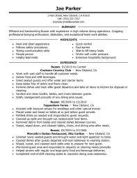 Food Runner Resume 6 Busser Resume Sample