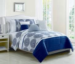6 piece heidi denim blue reversible comforter set queen