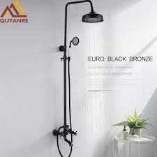 quyanre black bronze 8 shower faucets set wall mount black shower dual handles mixer tap swivel tub spout bath shower faucet malaysia senarai harga 2019