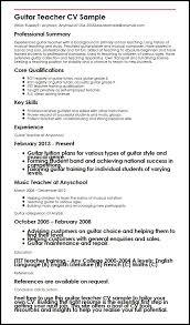 Sample Musician Resume Guitar Teacher Cv Sample Myperfectcv