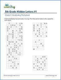 Hidden Letter Worksheets Grade 5 Vocabulary Worksheet Letters Learning B