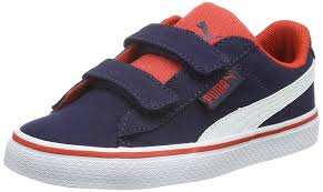 puma 1948 vulc cv kids uni kids low top sneakers blue blau peacoat white 01 boys shoes trainers puma toddler shoes 100 quality guarantee