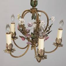french five light brass chandelier with porcelain flowers in excellent condition for in troy