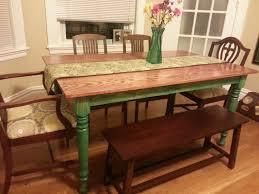 Bench Style Kitchen Tables Farmhouse Kitchen Table With Bench Superior Farmhouse Kitchen