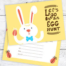 Details About Easter Egg Hunt Postcard Invitations Easter Bunny Party Invites Pack 10