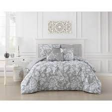 undefined jacqueline 5 piece pinch pleat light gray twin comforter set