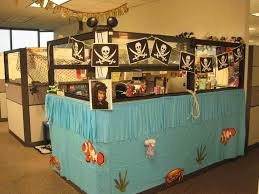 work office decorations pirates theme for cubicle room design with blue ruffle wall cover added sea blue office room design