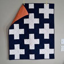 146 best Plus quilts images on Pinterest | Modern quilting, Quilt ... & Navy & White Plus Quilt with and orange print on the back by Cotton + Steel Adamdwight.com