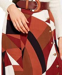 Red Tile Geometric Pattern Skirt