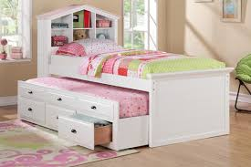 Kids Bed With Bookshelf Interior Fancy Decoration For Girls Bedroom Using White Wooden