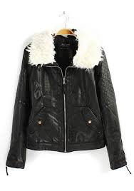 black plain fur collar thick pu leather coat