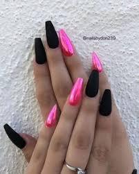 pinkchrome blackmatte coffin nails sti nails coffin nails glitter nails gel nails