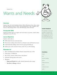 Needs And Wants Chart Wants And Needs Lesson Plan For 1st Grade Lesson Planet