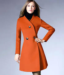 red wool pea coat autumn winter wool coats women petite red black orange jacket long sleeve