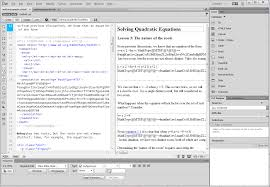 screen shot of dreamweaver cc 2016 in split view with html mathml on the