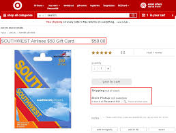 southwest airlines 50 gift card at target