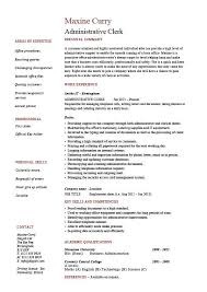 How To Write A Basic Resume For A Job Beauteous Administrative Clerk Resume Clerical Sample Template Job