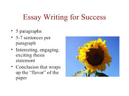 essay writing for success essay writing for success• 5 paragraphs• 5 7 sentences per paragraph• interesting