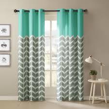 intelligent design alex grommet top window curtain panel pair in aqua from bed bath beyond