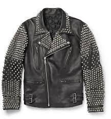 blackmeans studded leather biker jacket