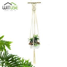 wall plant hanger macrame wall art plant hanger wood dowel flowerpot holder wall hanging string braided wall plant hanger