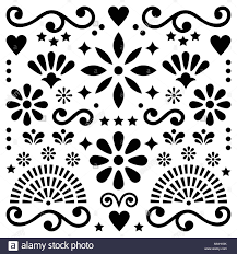 Black And White Greeting Card Mexican Folk Art Vector Pattern Black And White Design With Flowers