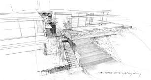 architectural hand drawings. Tiburon House - Hand Drawing | CHENG Design Architectural Drawings E
