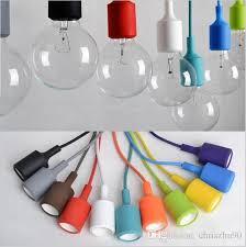 colorful led pendant lights 80cm wire e27 e26 holder 110v 220v silicone pendant light sconce lamp socket holder without bulb hanging lamp designer ceiling