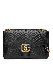 Black Quilted Leather Handbag   Neiman Marcus & Quick Look. Gucci · GG Marmont Large Chevron Quilted Leather Shoulder Bag Adamdwight.com