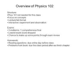 overview of physics structure phys not needed for this  overview of physics 102 structure phys 101 not needed for this class