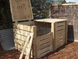 Small Picture Double compost bin construction with removable front slats and lid