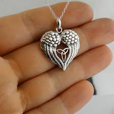 details about angel wings heart with celtic trinity knot necklace 925 sterling silver new