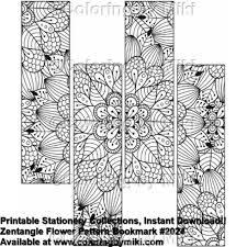 Zentangle Flower Pattern Bookmark Coloring Page 2024 Pintura