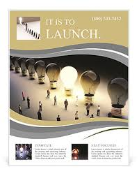 Moving Flyer Template Light Bulbs In A Row With One Being On Large Group Of People With A Few Moving To The Light Leading Flyer Template