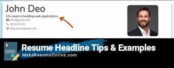 Resume Headline Examples Custom 60 Strong Resume Headline Examples For Your Resume Updated 60