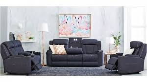 trinity 3 seater fabric lounge powered recliner