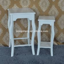 Modern High Quality Set Of 2 Flower Stand White Wood Planter Holder