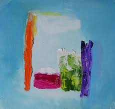 small abstract painting on paper 7 x 7 inches approx by mossmottle